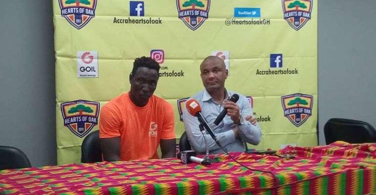 Kim Grant with Kofi Kordzi speaking to the media after beating WAFA 4-0