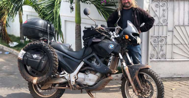 Robert and his 600cc BMW motorbike