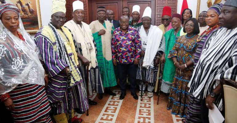 President Nana Addo Dankwa Akufo-Addo in a photograph with a delegation from the Upper West Regional House of Chiefs.S