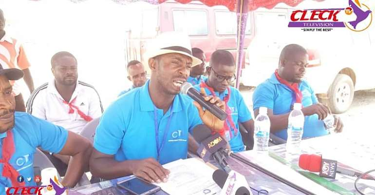 The Secretary of the group, Samuel Kwasi Asare addressing the media