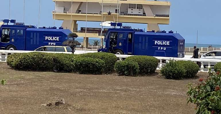 Police deployed to Black Star Square to counter any secret #FixTheCountry protest