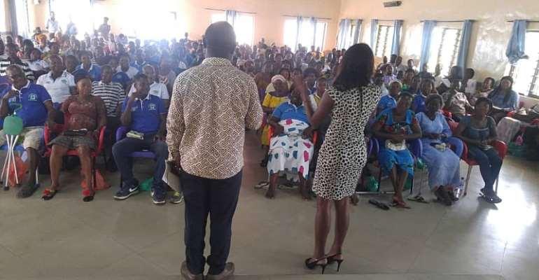 PFM Network Executive Secretary and Harriet Donkoh (GIZ) at Nsawam-Adoagyiri Dissemination