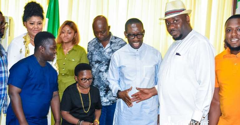 Governor Okowa Receives Ned Nwoko and Coalition Of Nigerian Entertainers... To Set up Headquarters In The State.