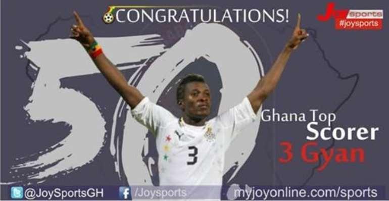 Captain Asamoah Gyan revels in 50th goal mark haul for the Black Stars