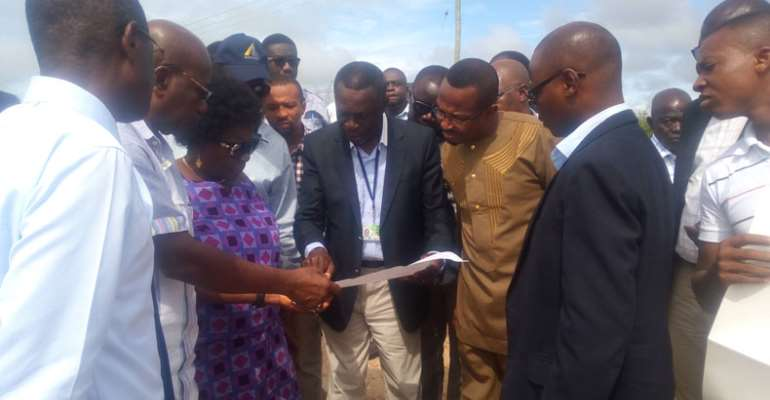 Cecilia Dapaah and her entourage at the site