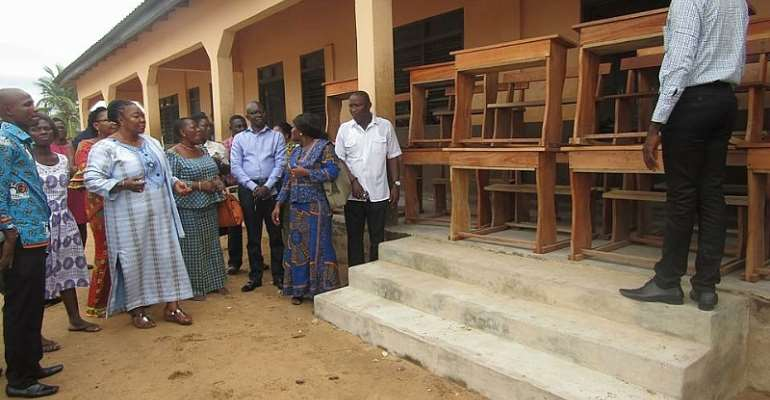 Hon. Tina Mensah Donates 195 Pieces Of Dual Desks To Oblogo M/A 2&3 Primary Schools
