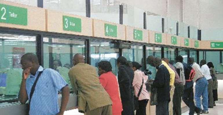 Customers at a banking hall