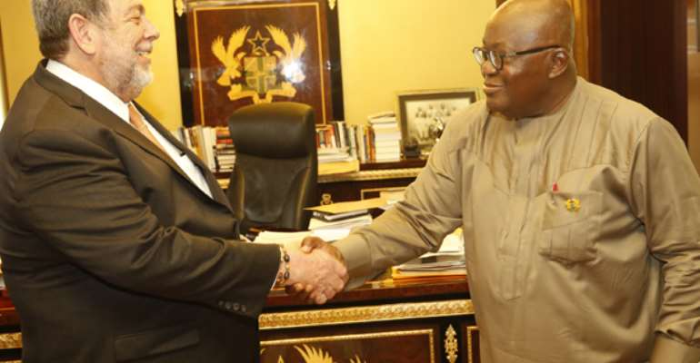 Left, Ralph Gonsalves, the president of St. Vincent and the Grenadines and the Ghanaian leader, Akufo-Addo: photo credit- Dailyguide Network