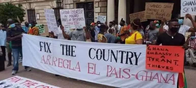 FixTheCountry demo: Ghanaians in Spain stage protest