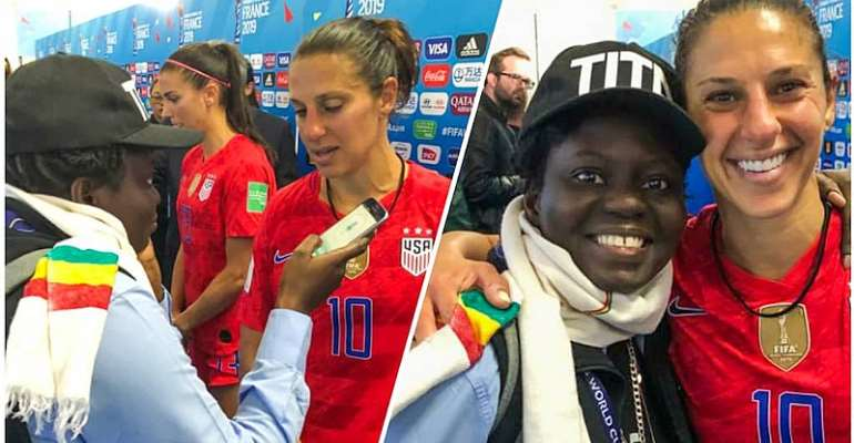 Legend Carli Lloyd Recognizes Ghana's Only Accredited Reporter At 2019 WWC In France