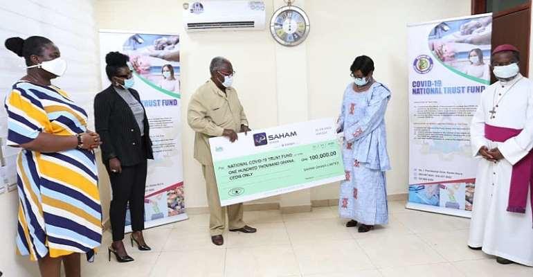 From left - Saham Life CEO- Gifty Fiagbe- Alabi, Saham General Insurance MD- Mabel Porbley, Board Chairman, SahamLife -Michael Hamenoo