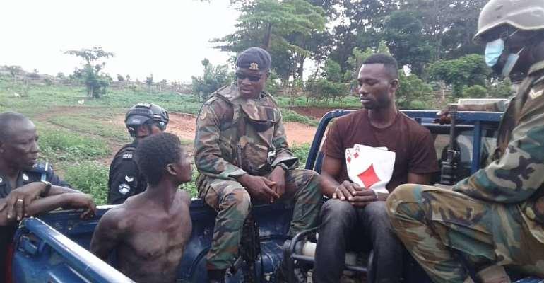 Bono Regional Anti-galamsey Task Force arrests two illegal miners at Wamfie