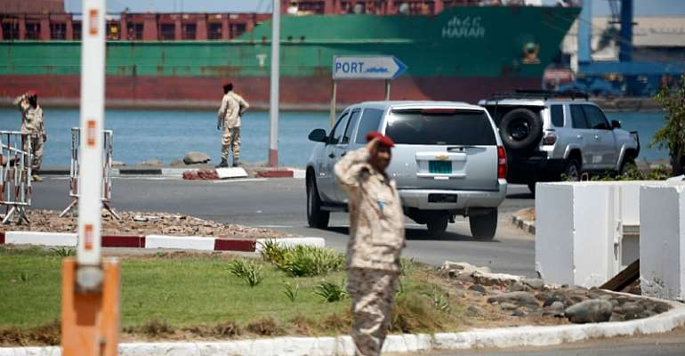 Security forces are seen at the Port of Djibouti on March 9, 2018. Authorities recently arrested two journalists covering protests in the country, and a third is in hiding. (AFP/Jonathan Ernst/Pool)