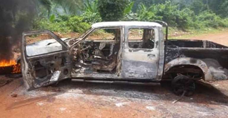 One of the company's vehicles burnt by the angry workers