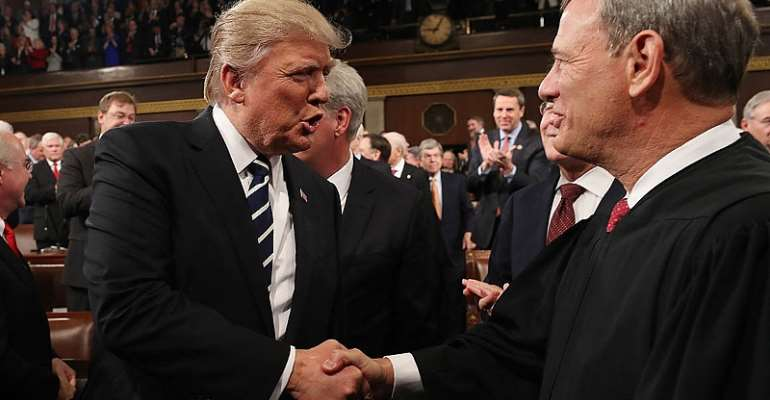 The U.S. President Trump and the Supreme Court Chair, John Roberts