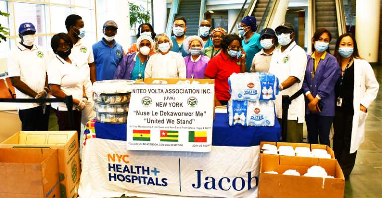 United Volta Association In New York Donates Food To Jacobi Medical Center In The Bronx