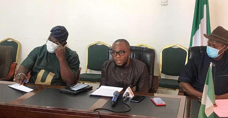 Board of Trustees Chairman for NIDO Ghana, Calistus Elozieuwa [Right], NIDO Secretary Rev. TonyWhite Meribe [Middle], and President of Greater Accra Yoruba Community Oloye Oyeyemi Fatuyi [Left]
