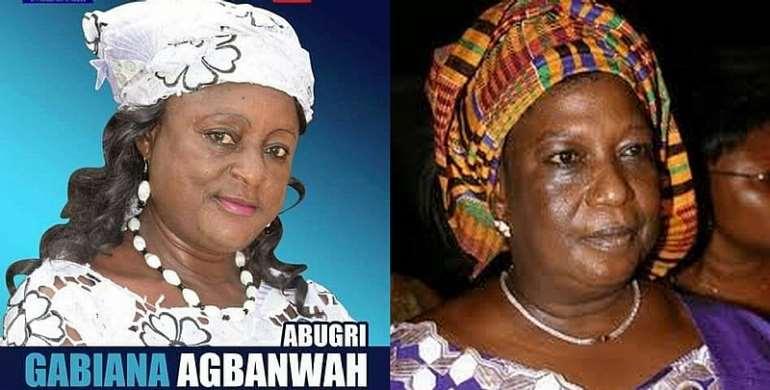 Late Hon. Madam Hawa Yakubu former Independent/ NPP MP for Bawku Central Constituency (Right) -  Hon. Gabiana A. Abugri Ruling Party Parliamentary candidate for Bawku Central Constituency (Left)