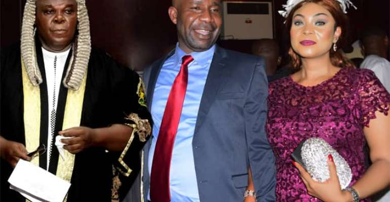 Hon. (Barr.) Frank Ugbomah (M), his wife (R) and Speaker, Imo State House of Assembly, Hon. Chiji