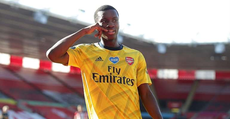 Eddie Nkethia of Arsenal celebrates after he scores a goal to make it 1-0 following a mistake from Alex McCarthy of Southampton during the Premier League match between Southampton FC and Arsenal FC at St Mary's Stadium  Image credit: Getty Images