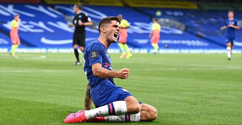 Christian Pulisic of Chelsea celebrates after scoring his sides first goal during the Premier League match between Chelsea FC and Manchester City at Stamford Bridge  Image credit: Getty Images