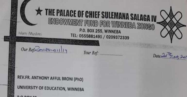 The Recent Letter From The Palace Of Chief Sulemana Salaga IV