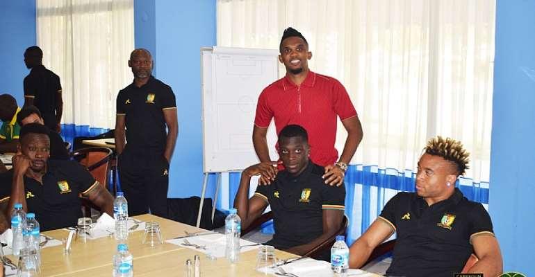 AFCON 2019: Samuel Eto'o Visits Cameroon Team Ahead Of Crunch Tie Against Ghana [PHOTOS]