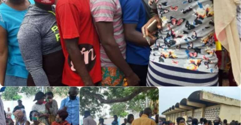 Tema Voter Registrants Flout Social Distancing