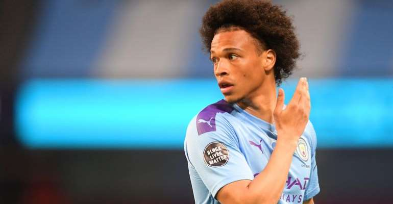 Leroy Sane of Manchester City looks on while showing the Black Lives Matter movement logo on his shirt sleeve during the Premier League match between Manchester City and Burnley FC at Etihad Stadium on June 22, 2020 in Manchester, England  Image credit: Getty Images