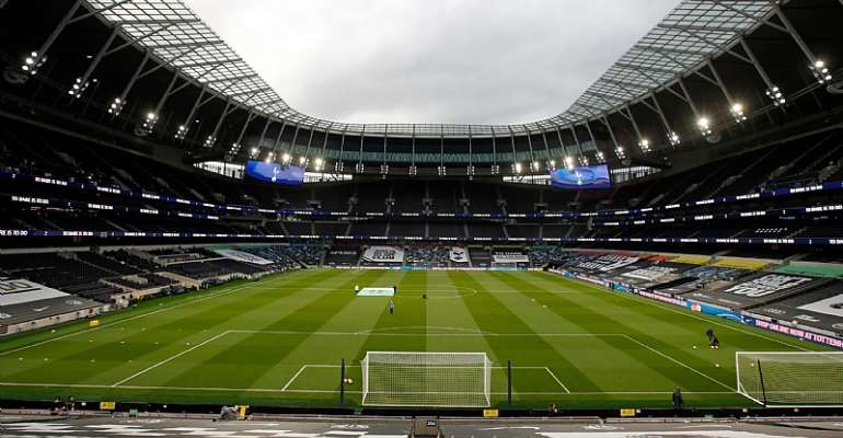 The pitch is viewed from the stands ahead of the English Premier League football match between Tottenham Hotspur and Manchester United at Tottenham Hotspur Stadium in London, on June 19, 2020