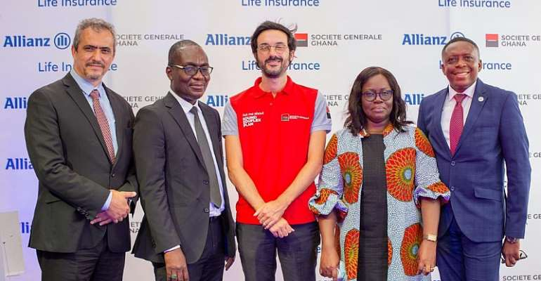 From left to right:  Hakim Ouzzani, MD, Societe Generale; Ismail Adam, Assistant Director, Banking Supervision Department, BOG; Francois Pousse, DMD, Societe Generale; Mrs. Esther Armah, Head Reinsurance & Anti-Money Laundering, NIC & Gideon Ataraire, CEO, Allianz Life Ghana.
