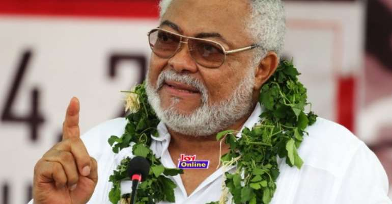 Former president Jerry John Rawlings addressing people at the 40th anniversary of June 4 revolution