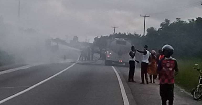 Burning Petrol Tanker Saved From Explosion At Gomoa Buduatta