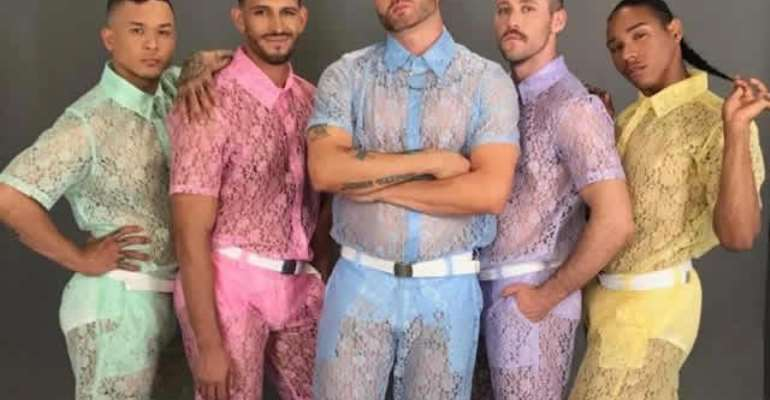 Fashion brand creates see-through lace shorts and shirts for men