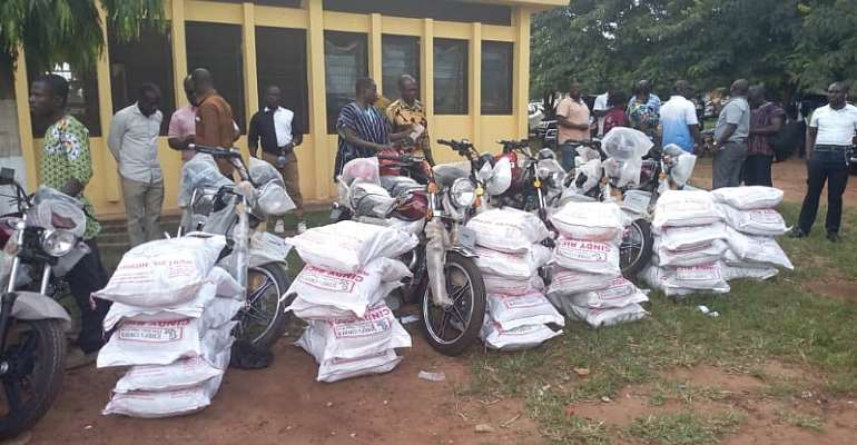 NPP Bono-East Constituency Executive's Receive Motorbikes Plus Gh¢200 Each