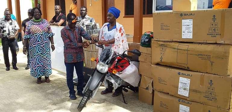 Abuakwa North MP Donate Motorbikes, Items To Schools