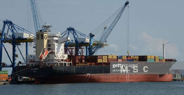 Containers on sea at Tema