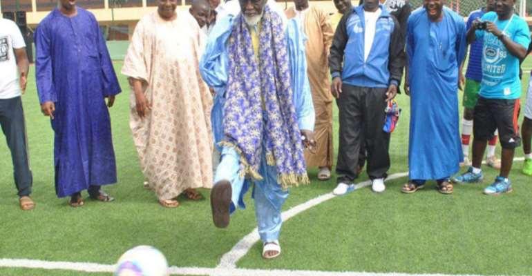 Sheikh Sharubutu exhibiting his soccer skills