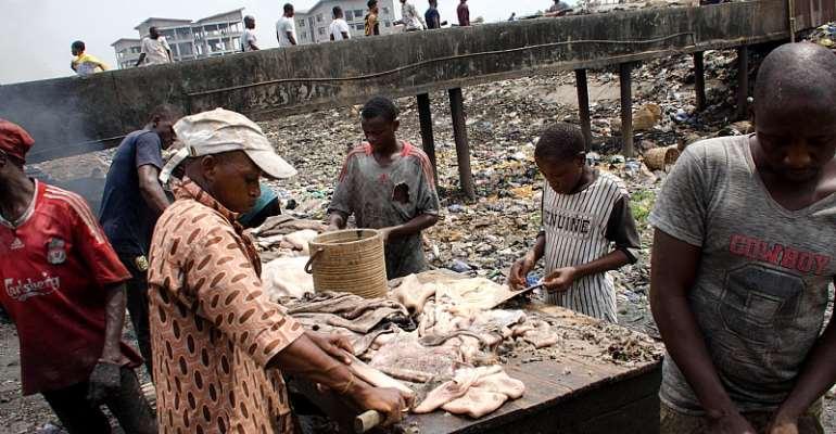 Idi-Araba abattoir canal, in Lagos, Nigeria  - Source: Photo by Olukayode Jaiyeola/NurPhoto via Getty Images