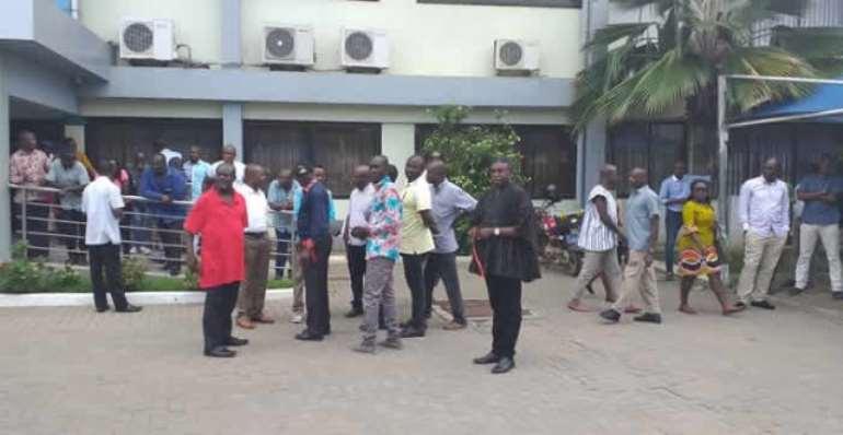Unpaid Road Contractors Storm Ministry, Shouts 'Akyem Mafia'