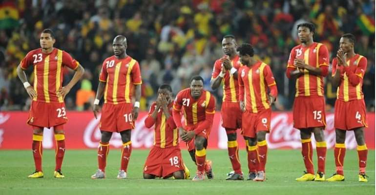 BLACK STARS OF GHANA IN PENALTY SHOOTOUT AGAINST URUGUAY IN 2010 FIFA WORLD CUP IN SOUTH AFRICA