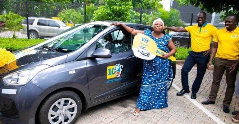 MTN MoMo @10 Promo: 70-Year-Old Woman Wins First Hyundai Car