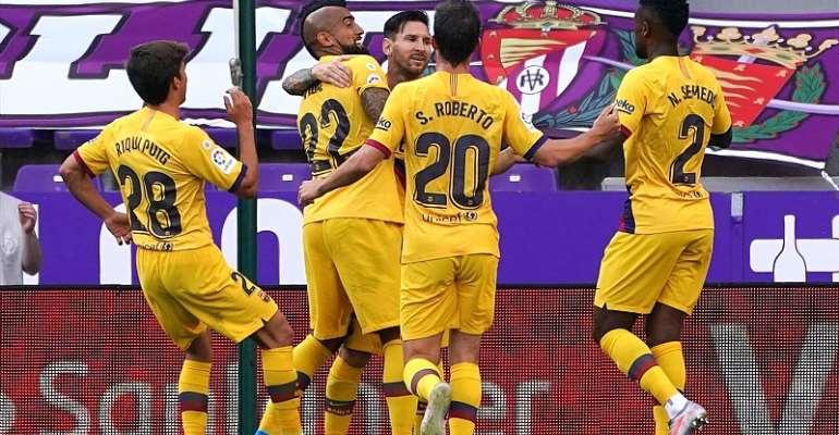 Barcelona celebrate Arturo Vidal's goal against Real Valladolid  Image credit: Getty Images