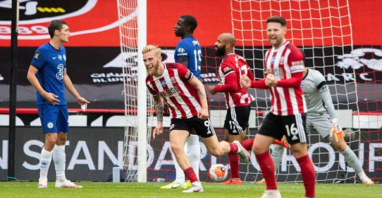 Sheffield United's Oliver McBurnie celebrates scoring his side's second goal during the Premier League match between Sheffield United and Chelsea FC at Bramall Lane on July 11, 2020 in Sheffield, United Kingdom.  Image credit: Getty Images