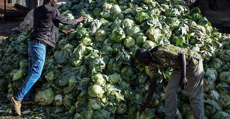 Traders leave their cabbages after the County Governor ordered the closure of the main open air market to curb the spread of the COVID-19 coronavirus in Kisumu, Kenya. - Source: CASMIR ODUOR/AFP via Getty Images