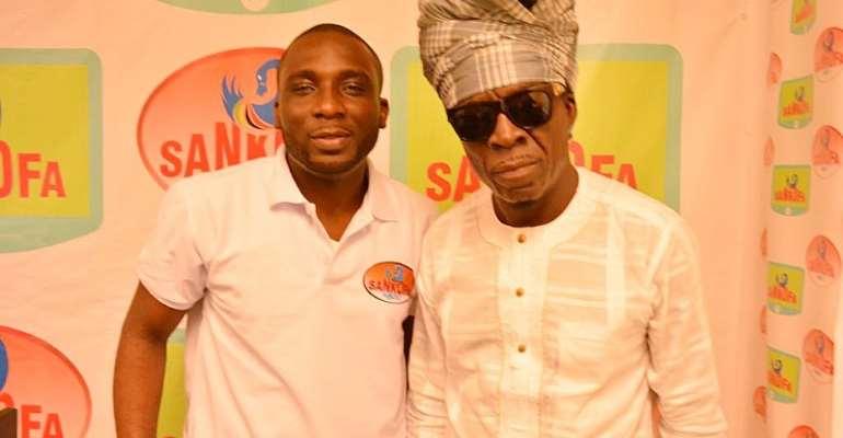 DJ RAS on the left with legendary Ghanaian musician Kojo Antwi in the studios of Sankofa.