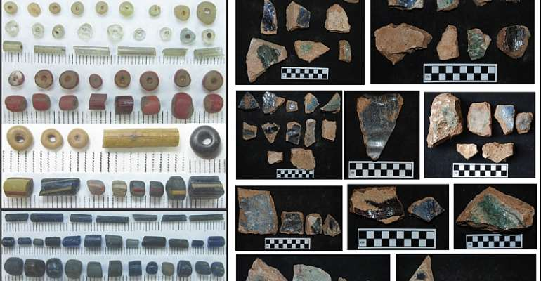 Glass related artifacts excavated from Igbo Olokun, Ile Ife. Left: glass beads, Right: fragments of glass making crucibles - Source: Courtesy Author