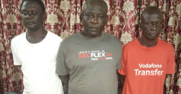 From left: Suspects Kwabena Adjei, Felix Amuh middle and Samuel Paa T. Nii Aryee Okai