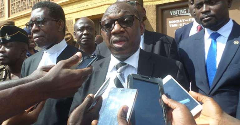 Justice Clement Honyenuga addressed the press after JFAP sitting at Sunyani Prison