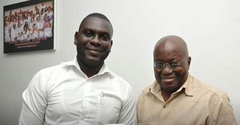 Presidential staffer Mr. Nana Hesse Ogyiri [Left] with President Nana Akufo-Addo [Right]